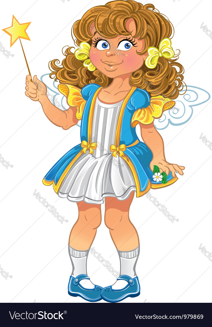 Pretty little girl with magic wand vector | Price: 3 Credit (USD $3)