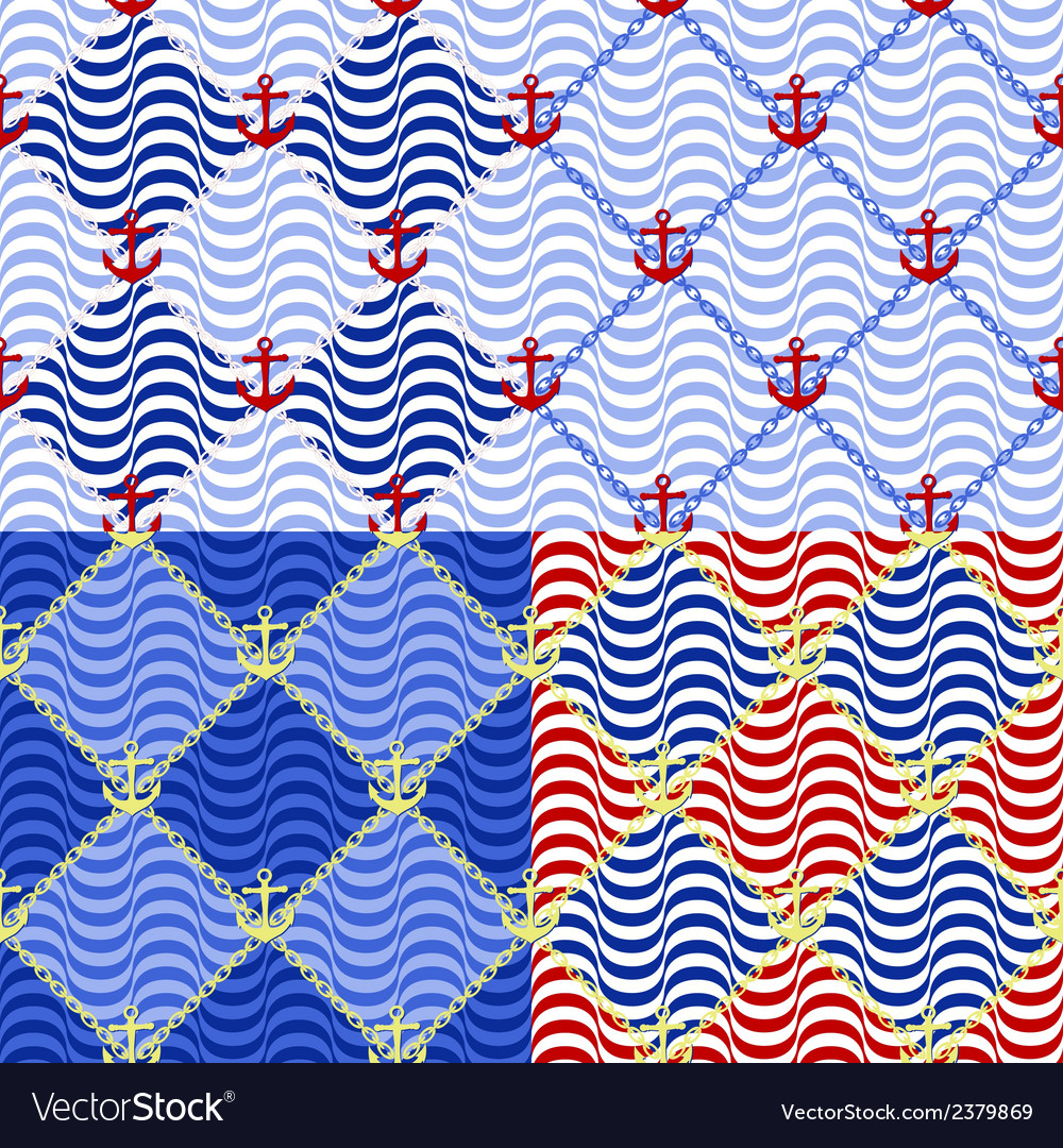 Set of four seamless nautical style vector | Price: 1 Credit (USD $1)