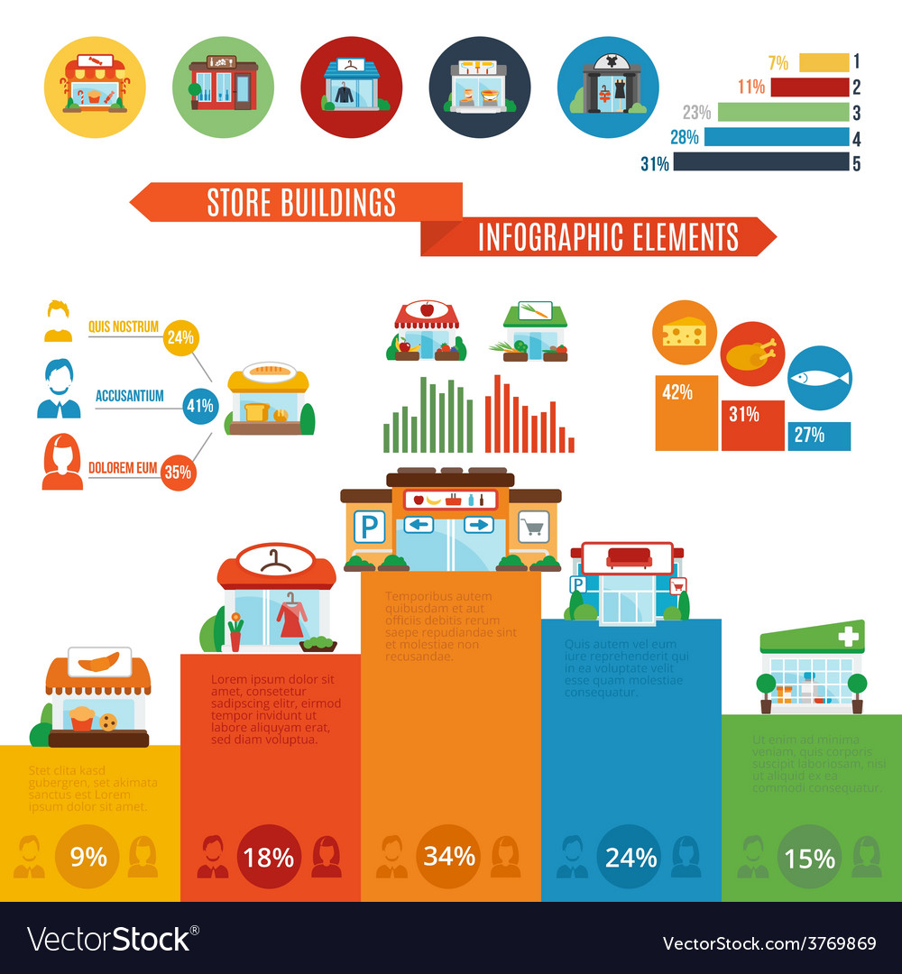 Store building infographics vector | Price: 1 Credit (USD $1)