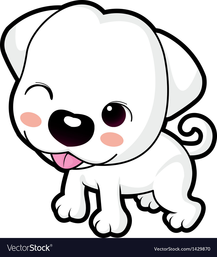 A wink cute puppy mascot animal character design vector | Price: 1 Credit (USD $1)