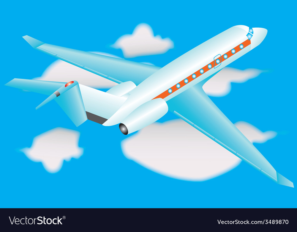 Airplane in a sky with clouds vector | Price: 1 Credit (USD $1)
