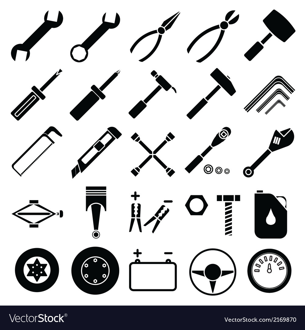 Auto mechanic tools set vector | Price: 1 Credit (USD $1)