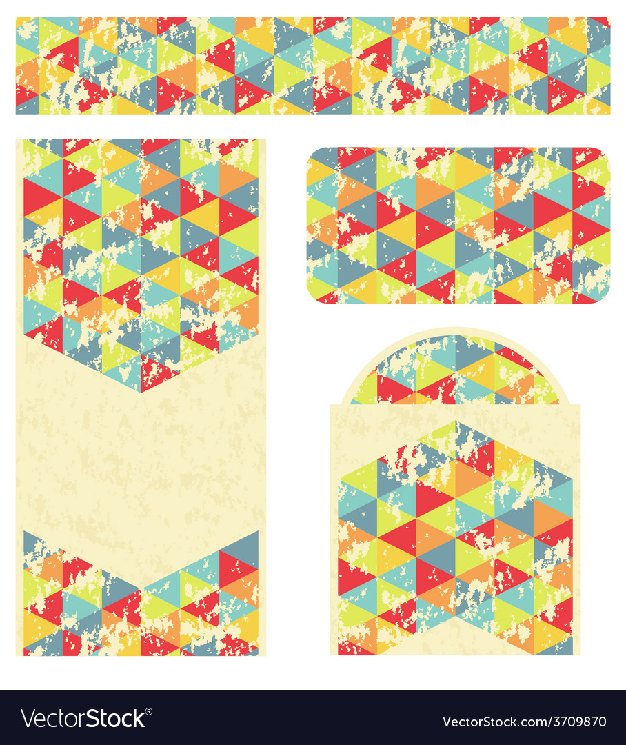 Branding design with retro triangles pattern vector | Price: 1 Credit (USD $1)