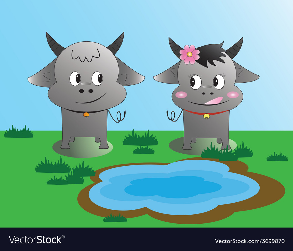 Buffalo love in the graden vector | Price: 1 Credit (USD $1)