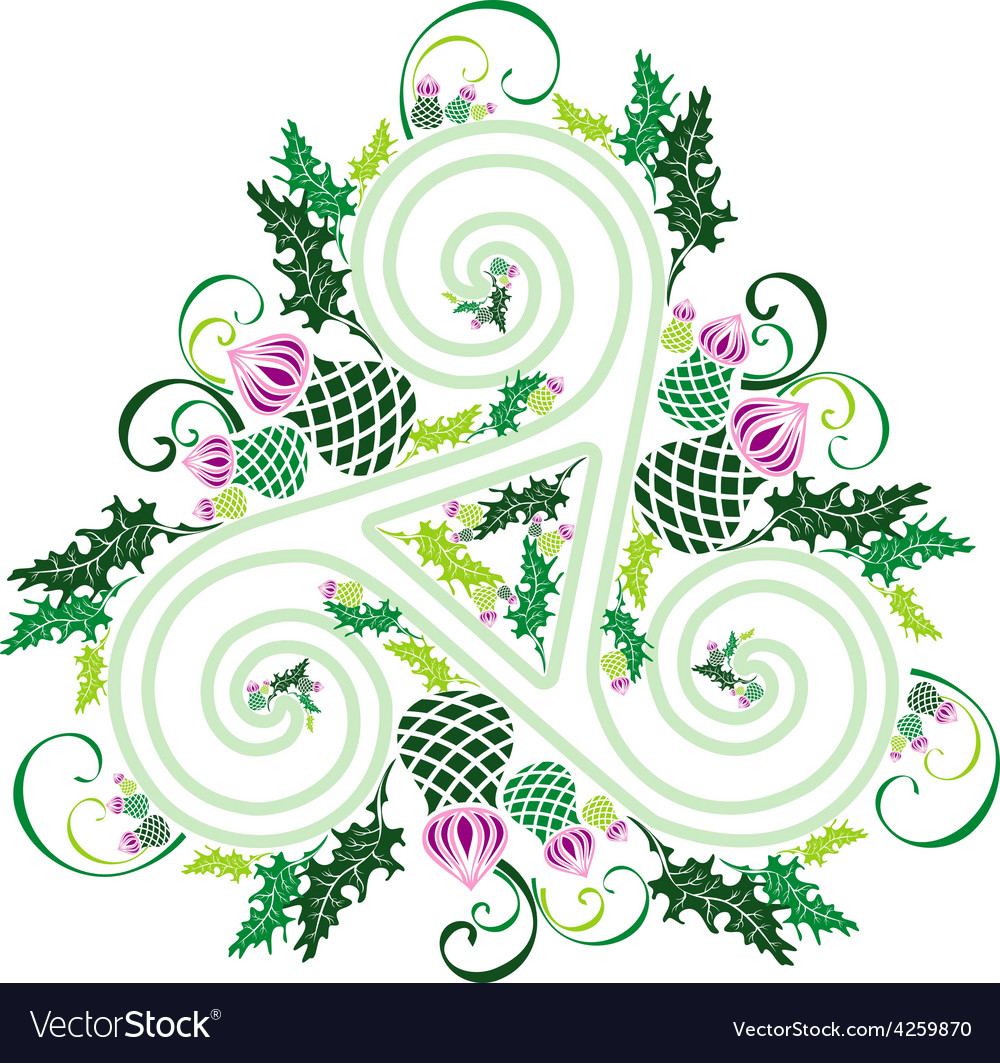Celtic triad with flowers of thistles vector | Price: 1 Credit (USD $1)