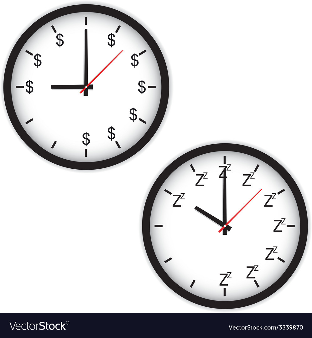 The clock concept with time to work and sleep vector | Price: 1 Credit (USD $1)