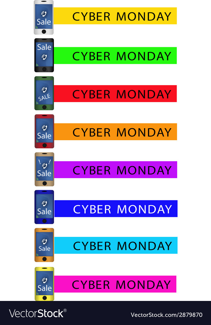 Cyber monday shopping promotion with smart phone vector | Price: 1 Credit (USD $1)