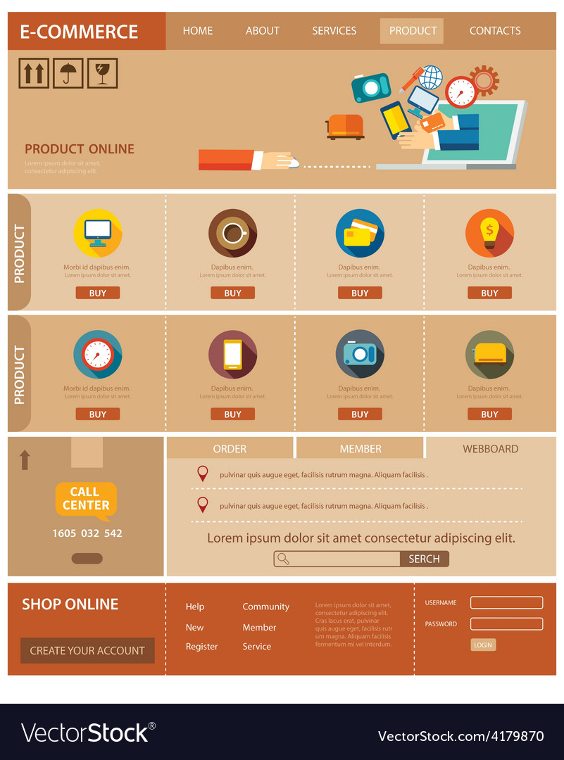 E-commerce website template flat design vector | Price: 1 Credit (USD $1)