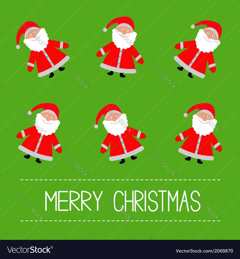 Funny cartoon santas green background vector | Price: 1 Credit (USD $1)