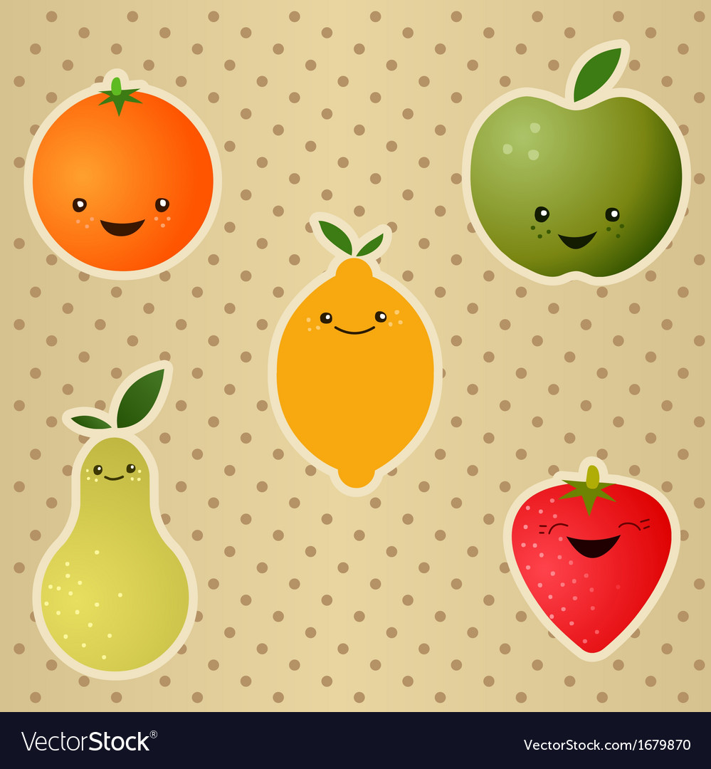 Happy fruits vector | Price: 1 Credit (USD $1)
