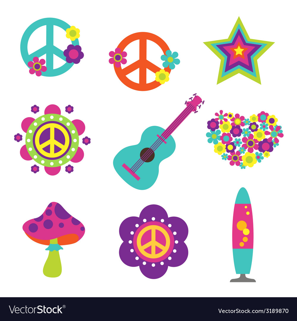 Hippie style art elements vector | Price: 1 Credit (USD $1)