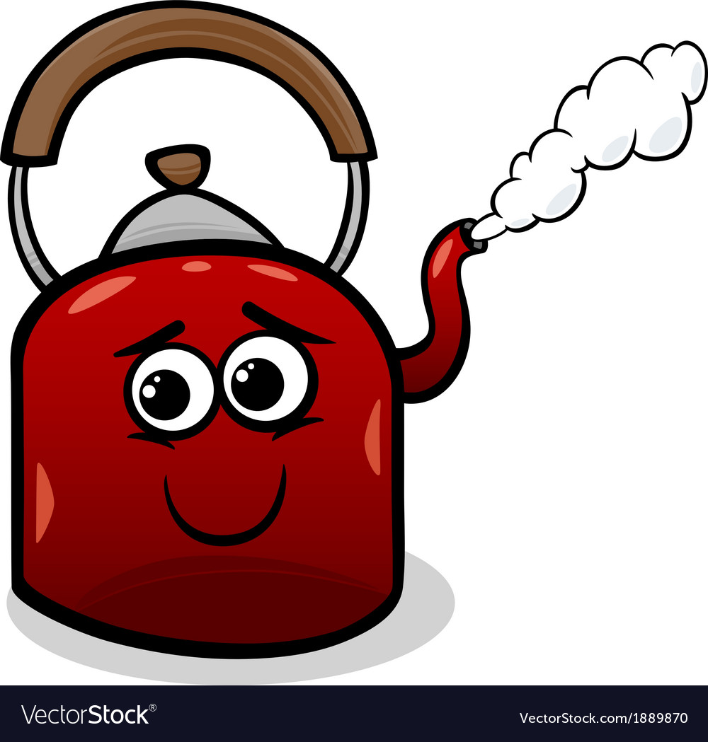 Kettle and steam cartoon vector | Price: 1 Credit (USD $1)
