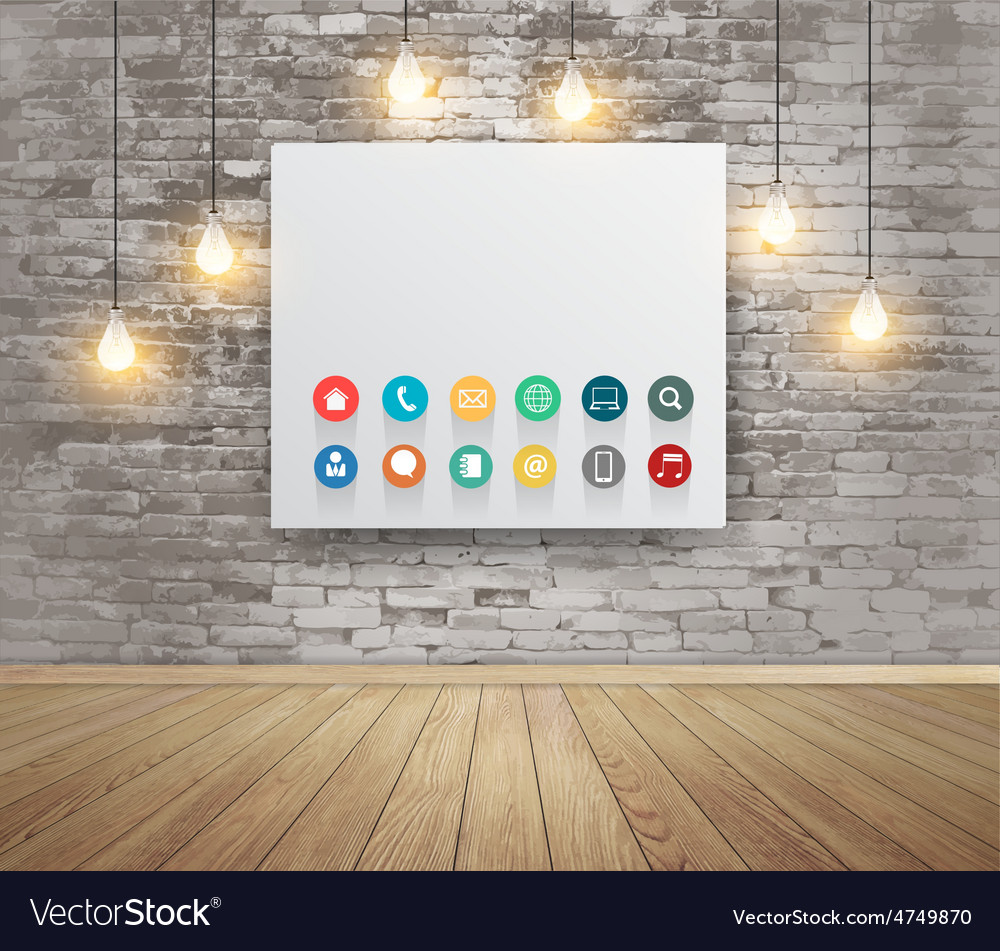 Mock up poster with lamps modern workspace vector | Price: 3 Credit (USD $3)