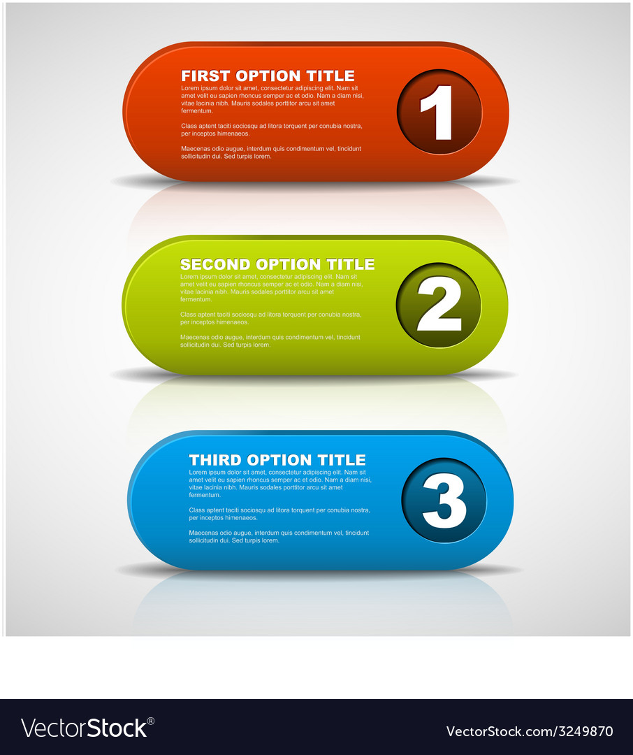 One two three - 3d progress buttons vector | Price: 1 Credit (USD $1)