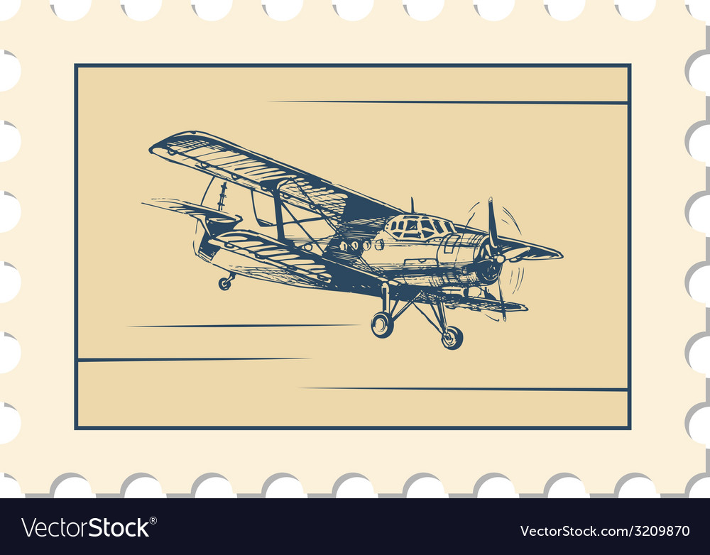 Post stamp biplane vector | Price: 1 Credit (USD $1)