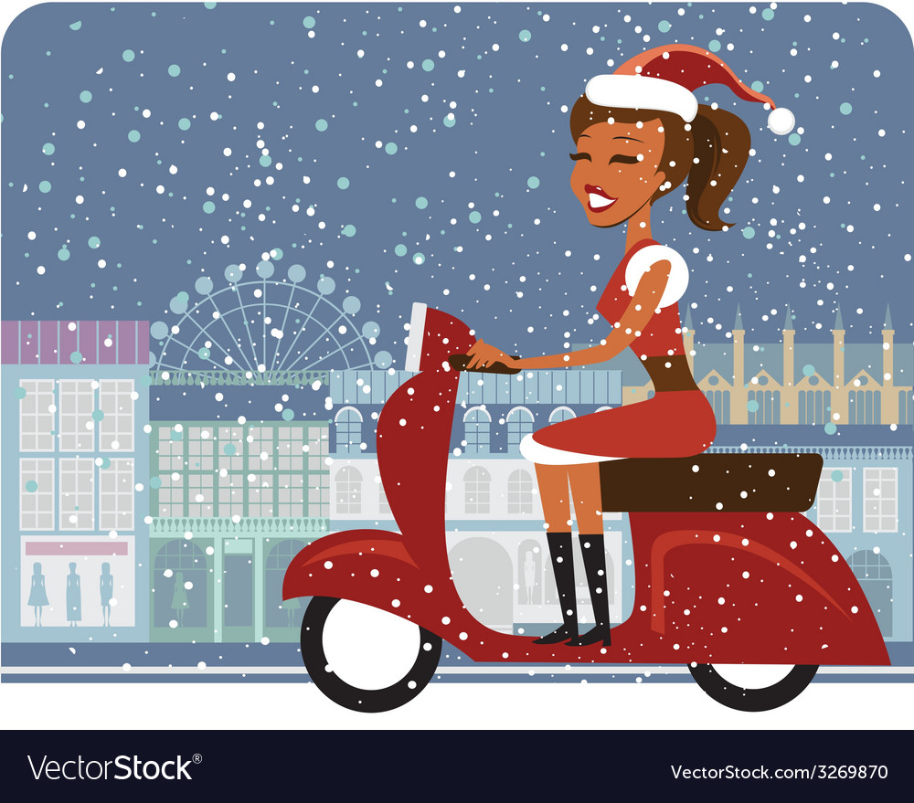 Santa girl riding red scooter vector | Price: 1 Credit (USD $1)
