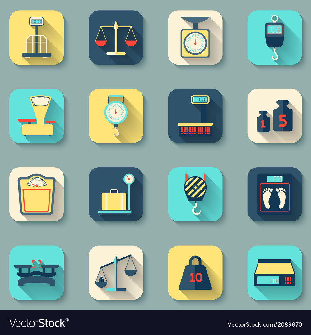 Scales weight icons flat vector | Price: 1 Credit (USD $1)