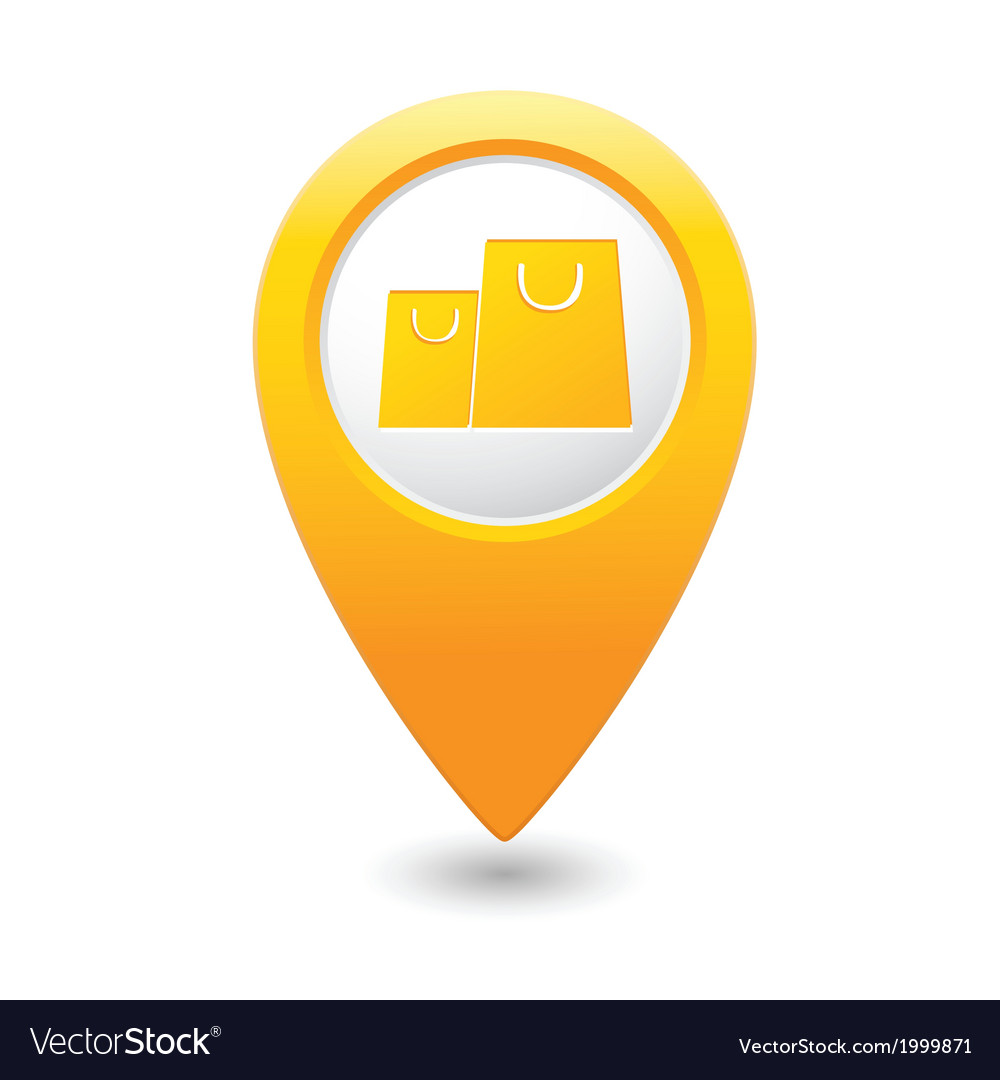Bag icon map pointer yellow vector | Price: 1 Credit (USD $1)
