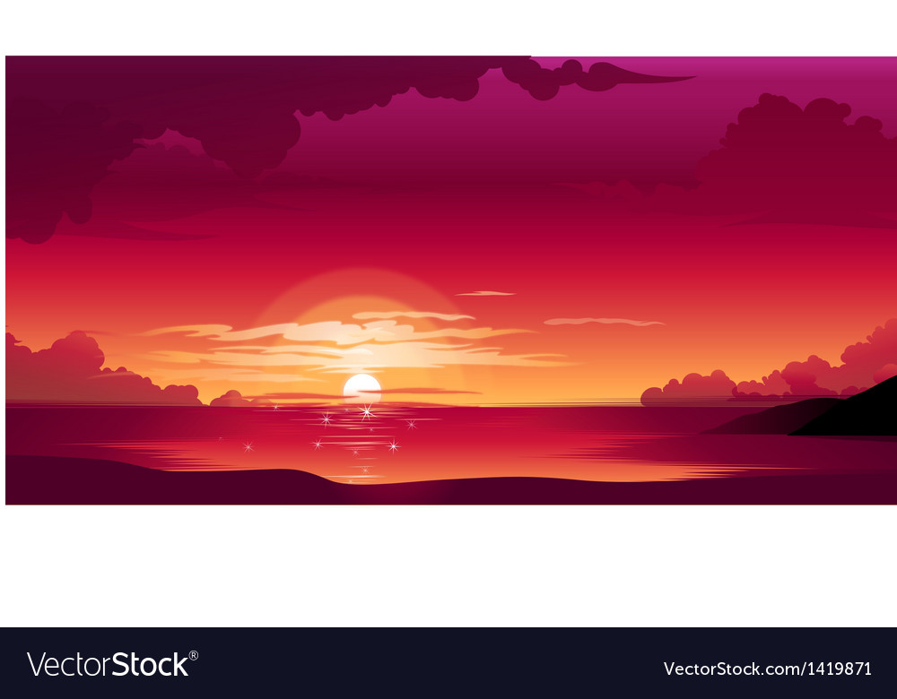 Beautiful sunset vector | Price: 1 Credit (USD $1)