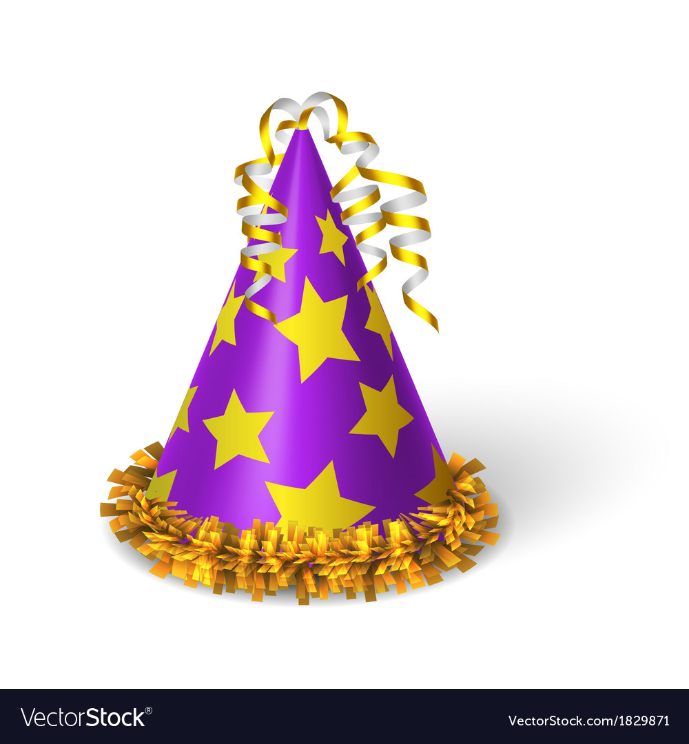Birthday violet hat with yellow stars vector | Price: 1 Credit (USD $1)