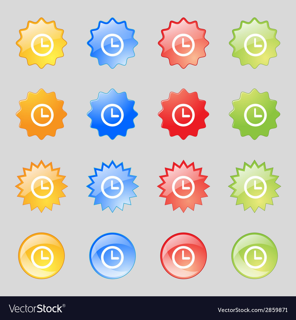 Clock sign icon mechanical clock symbol set vector | Price: 1 Credit (USD $1)