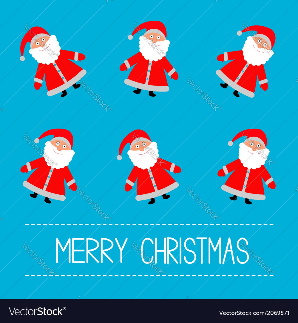 Funny cartoon santas blue background vector | Price: 1 Credit (USD $1)