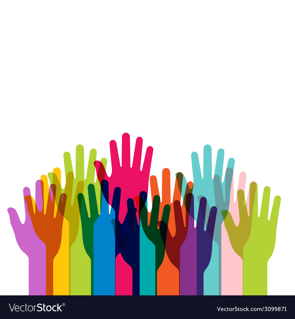 Group of colored hands up with copy space vector | Price: 1 Credit (USD $1)