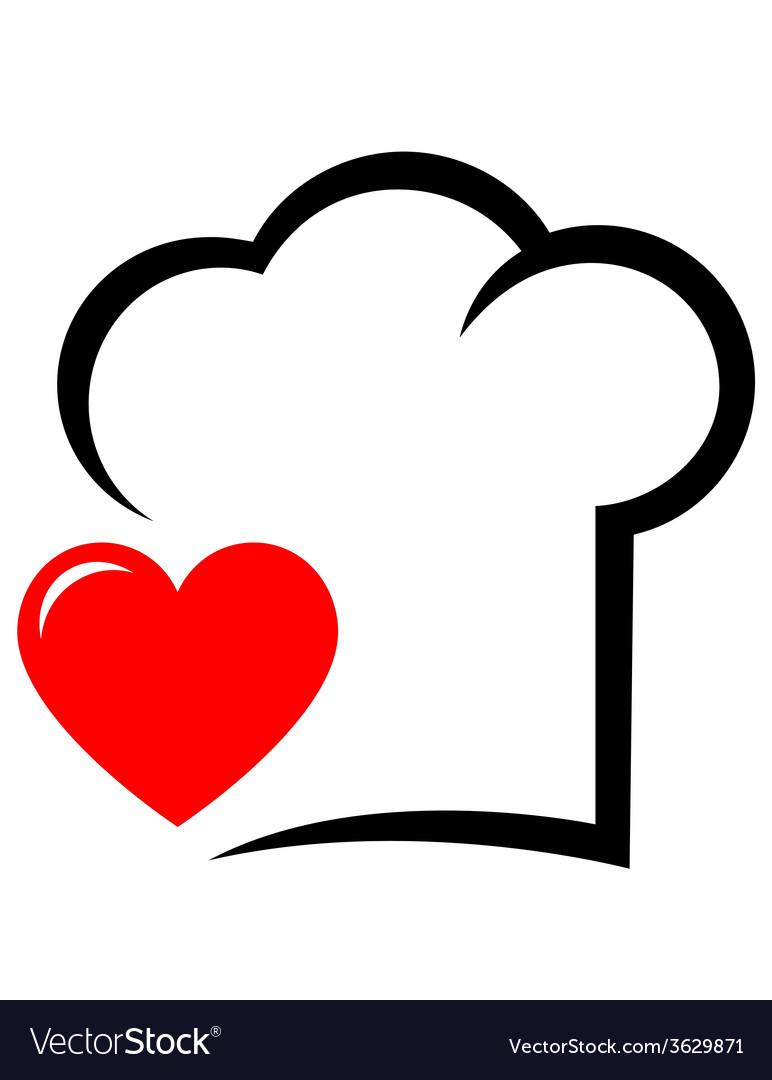 Icon with chef hat and heart vector   Price: 1 Credit (USD $1)