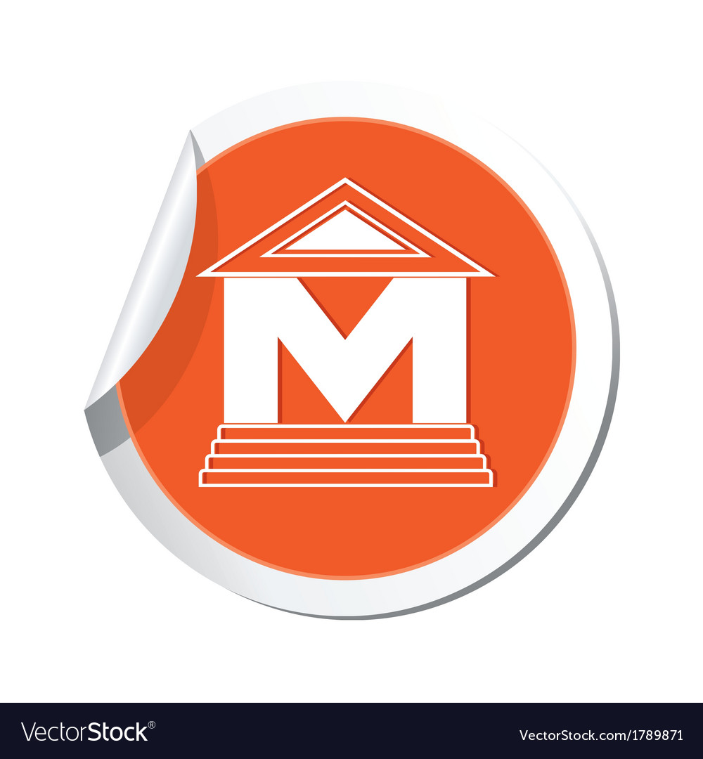 Museum icon orange sticker vector | Price: 1 Credit (USD $1)