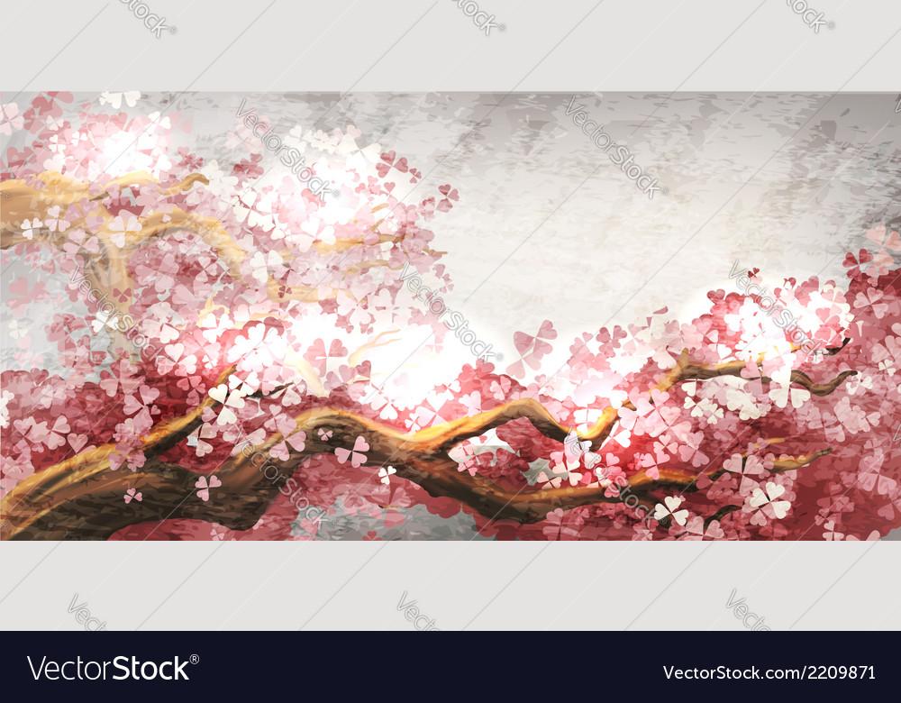 Sakura branch blooming vector | Price: 1 Credit (USD $1)
