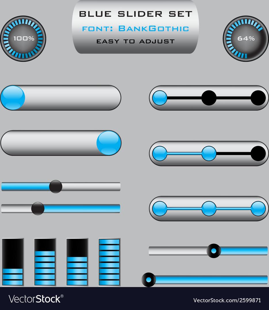 Set of blue slider bar controls vector | Price: 1 Credit (USD $1)