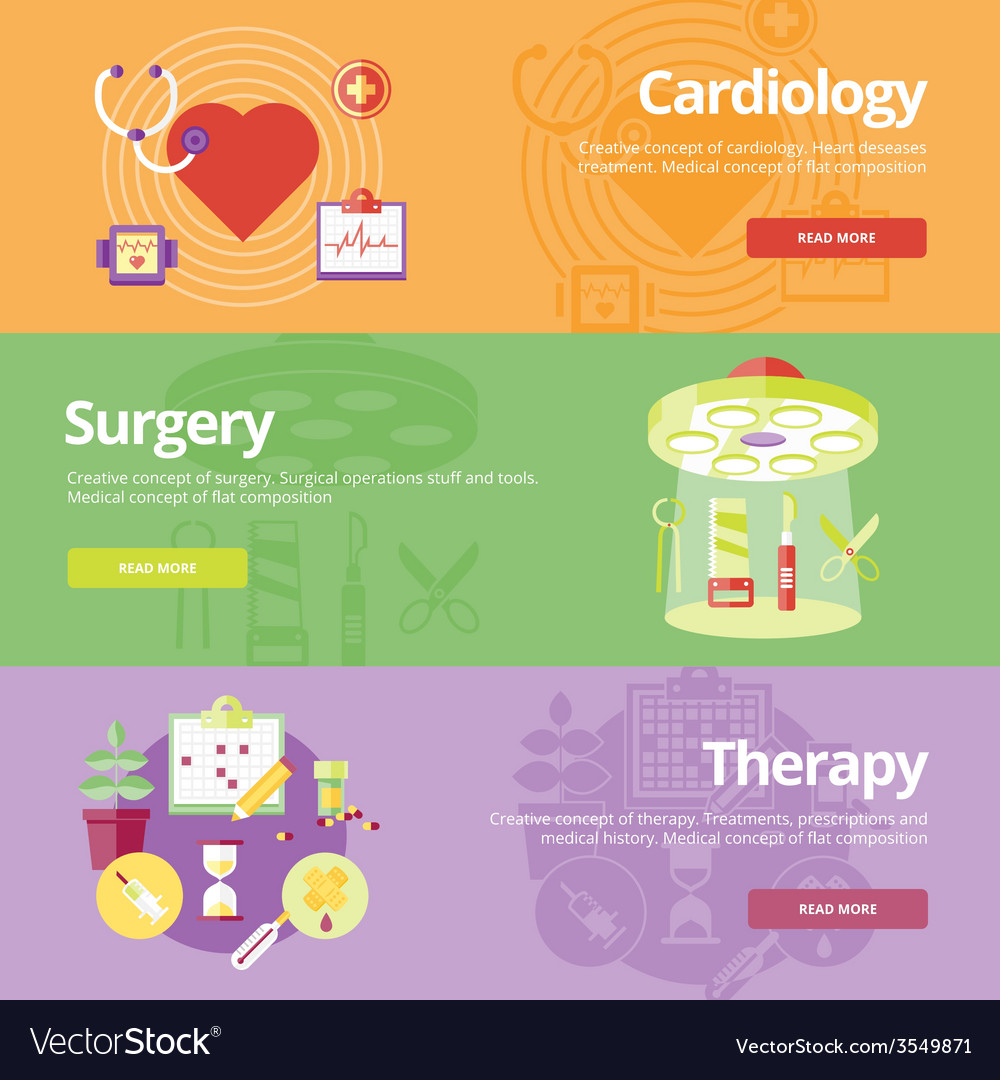 Set of flat design concepts for cardiology surgery vector | Price: 1 Credit (USD $1)