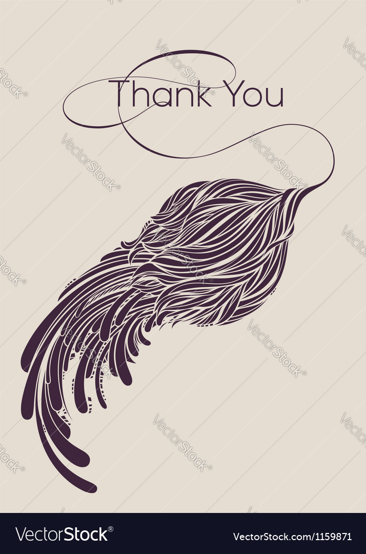 Thank you lettering with calligraphic flower vector | Price: 1 Credit (USD $1)