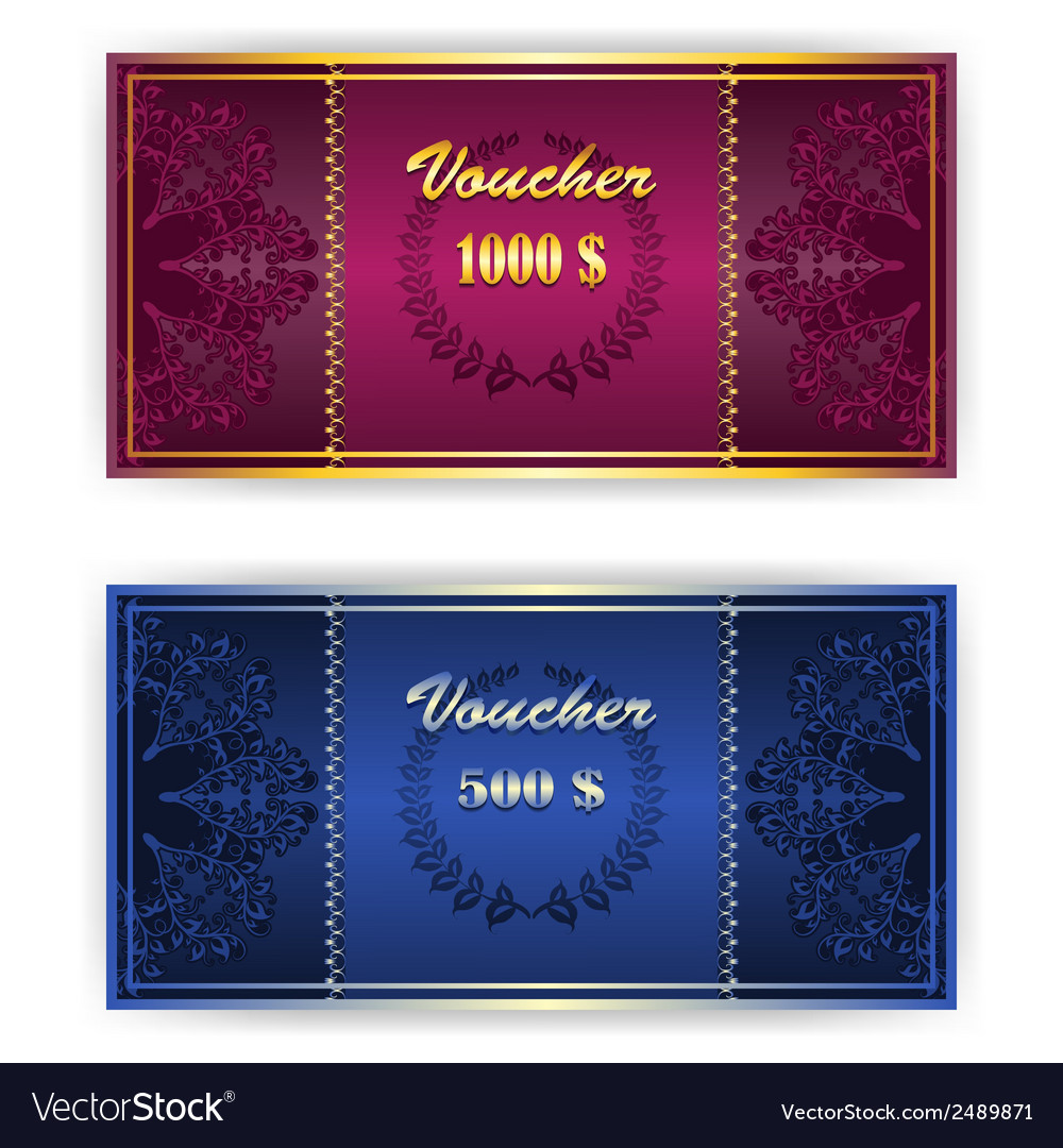 Voucher coupon template with border vector | Price: 1 Credit (USD $1)