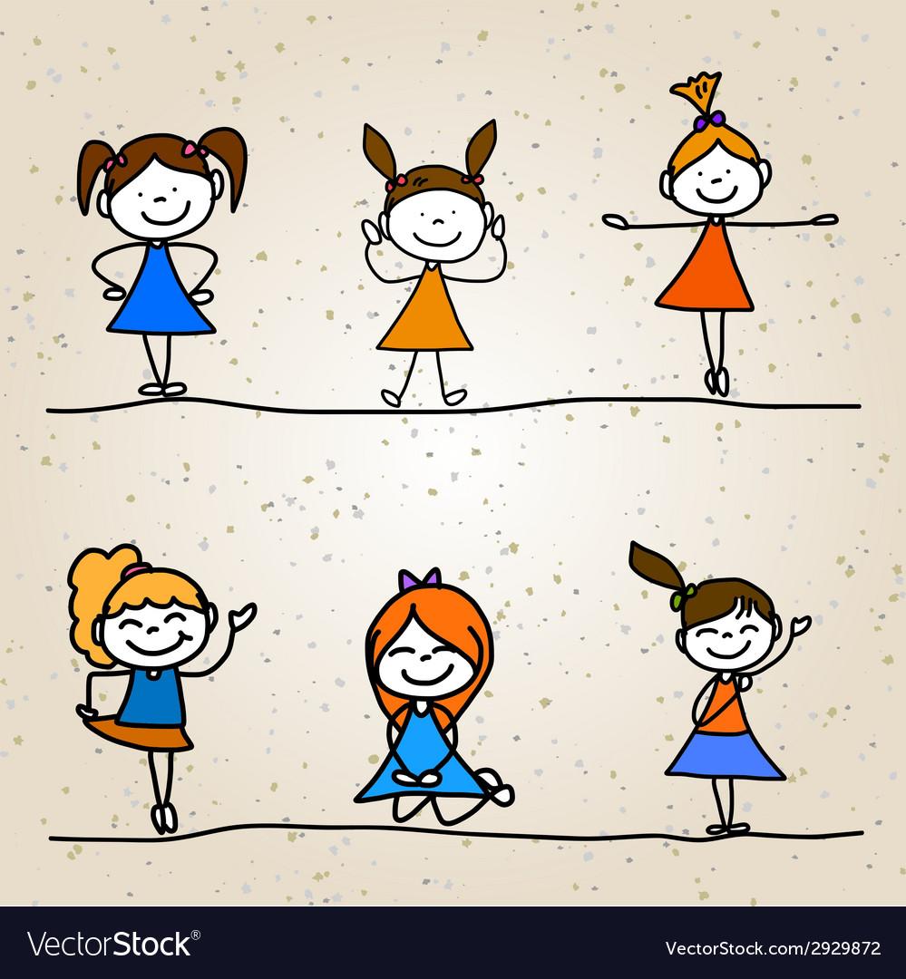Hand drawing cartoon happy kids vector | Price: 1 Credit (USD $1)
