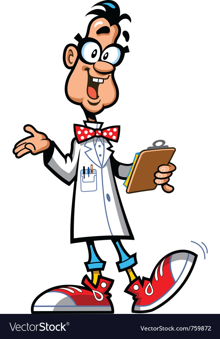 Happy cartoon professor scientist vector | Price: 3 Credit (USD $3)