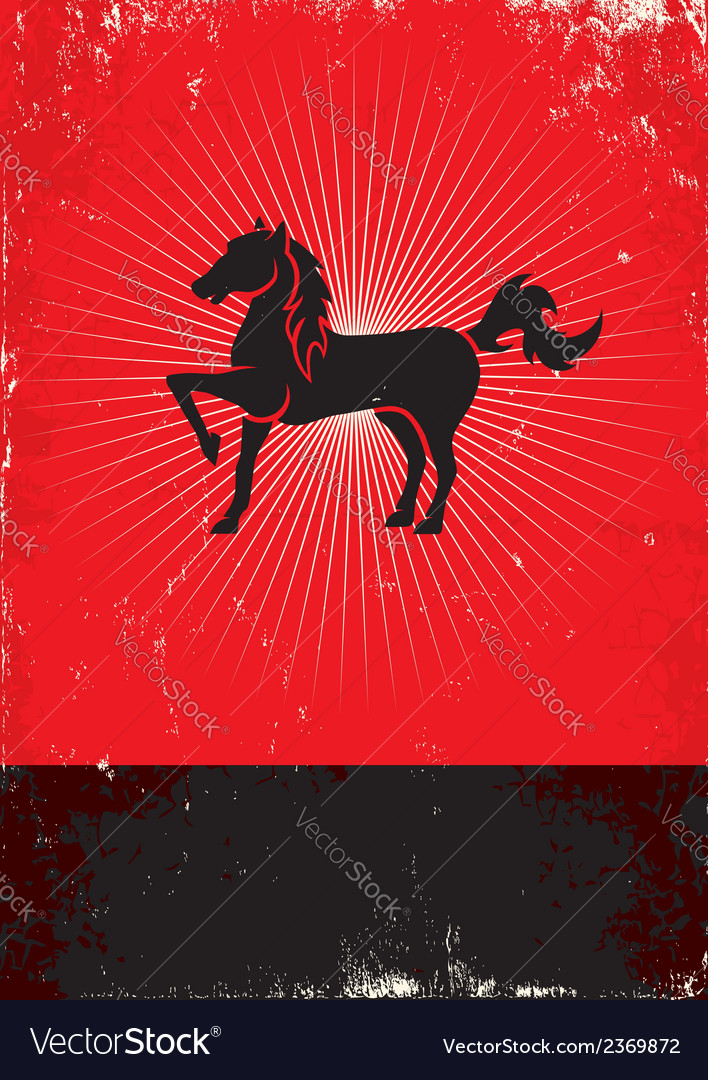 Horse red poster vector | Price: 1 Credit (USD $1)