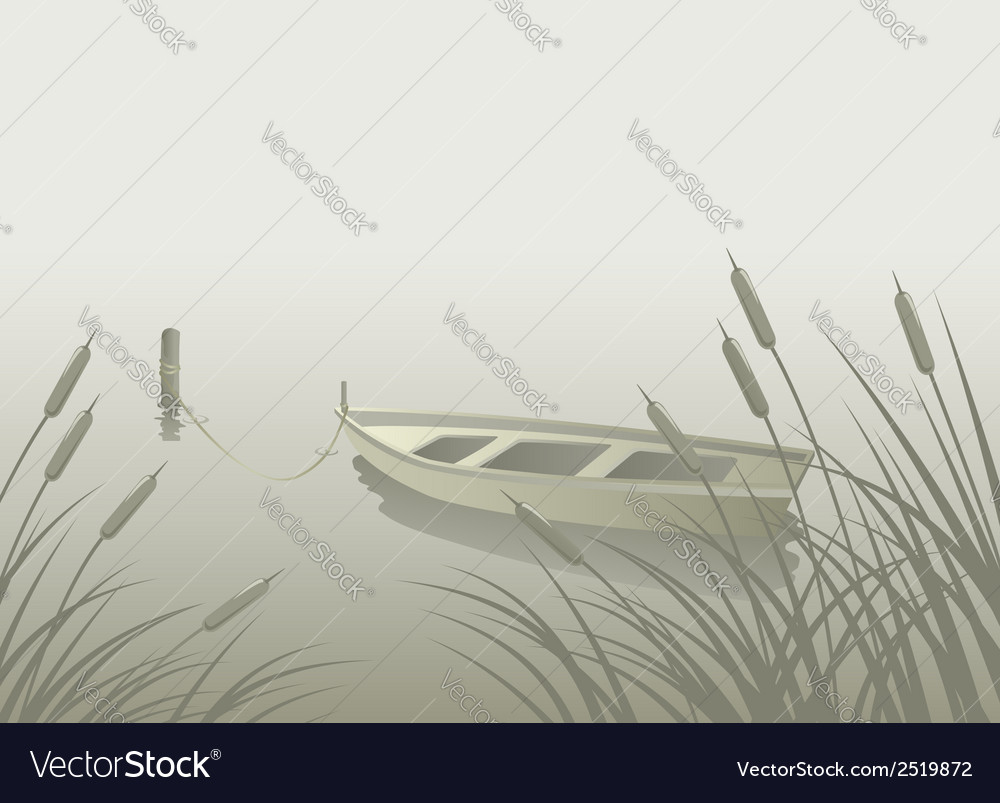 Lake boat reeds vector | Price: 1 Credit (USD $1)