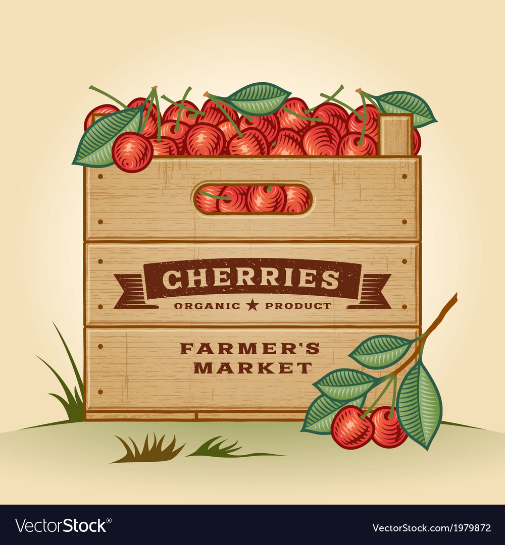 Retro crate of cherries vector | Price: 1 Credit (USD $1)