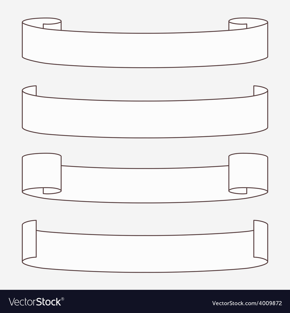 Set of white horizontal scrolls vector | Price: 1 Credit (USD $1)