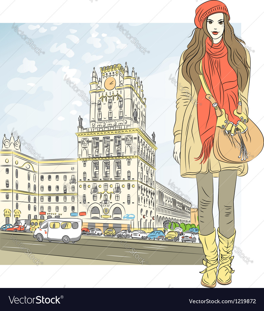 Stylish girl in the city-center vector | Price: 5 Credit (USD $5)