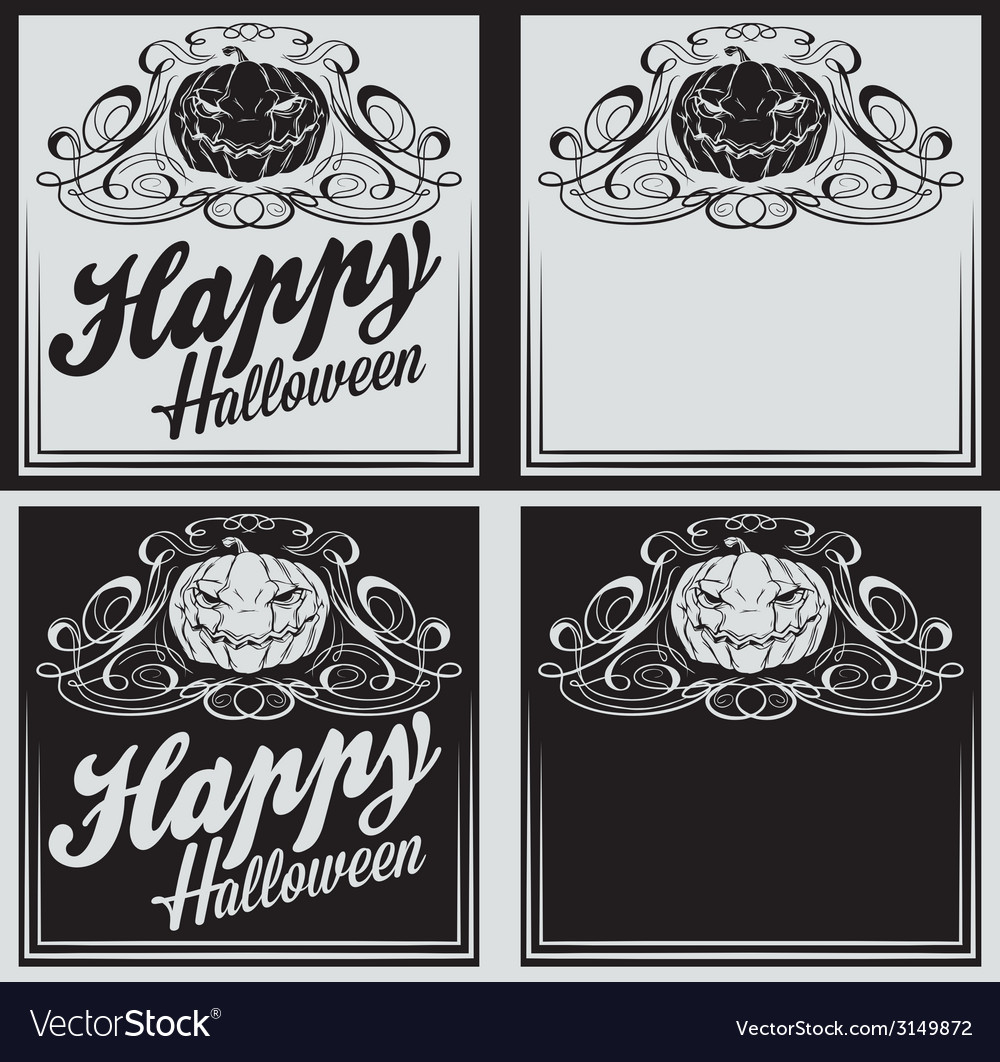 Vintage happy halloween greetings cards vector | Price: 1 Credit (USD $1)
