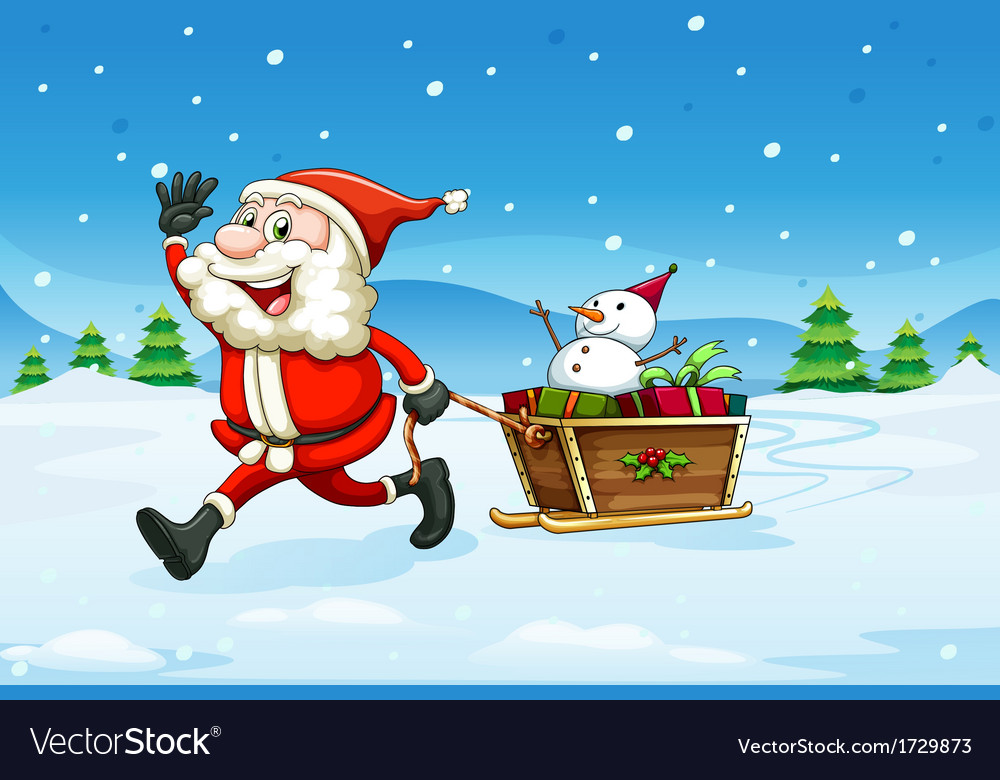 A cheerful santa with a wooden sleigh vector | Price: 1 Credit (USD $1)
