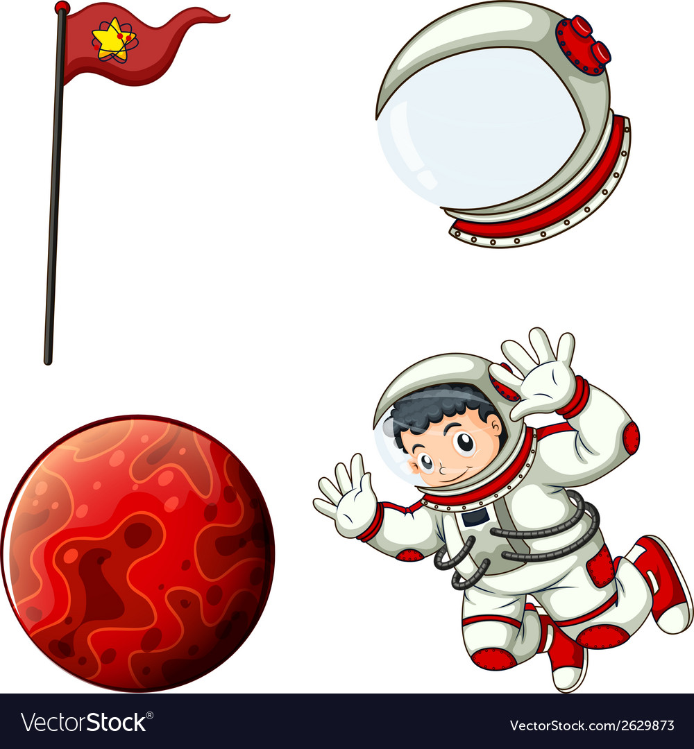 An astronaut a helmet a banner and a planet vector | Price: 3 Credit (USD $3)