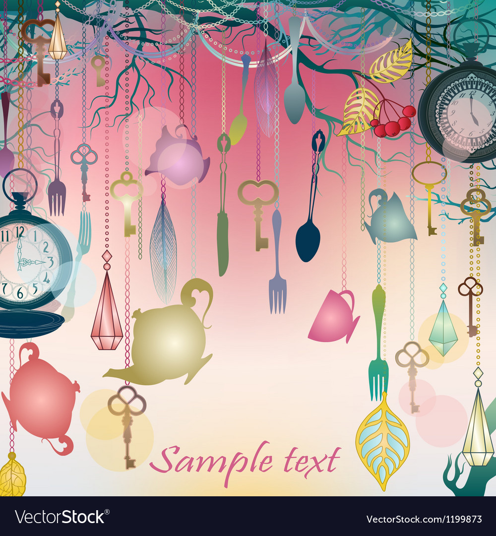 Antique colorful background with tea party theme vector | Price: 1 Credit (USD $1)
