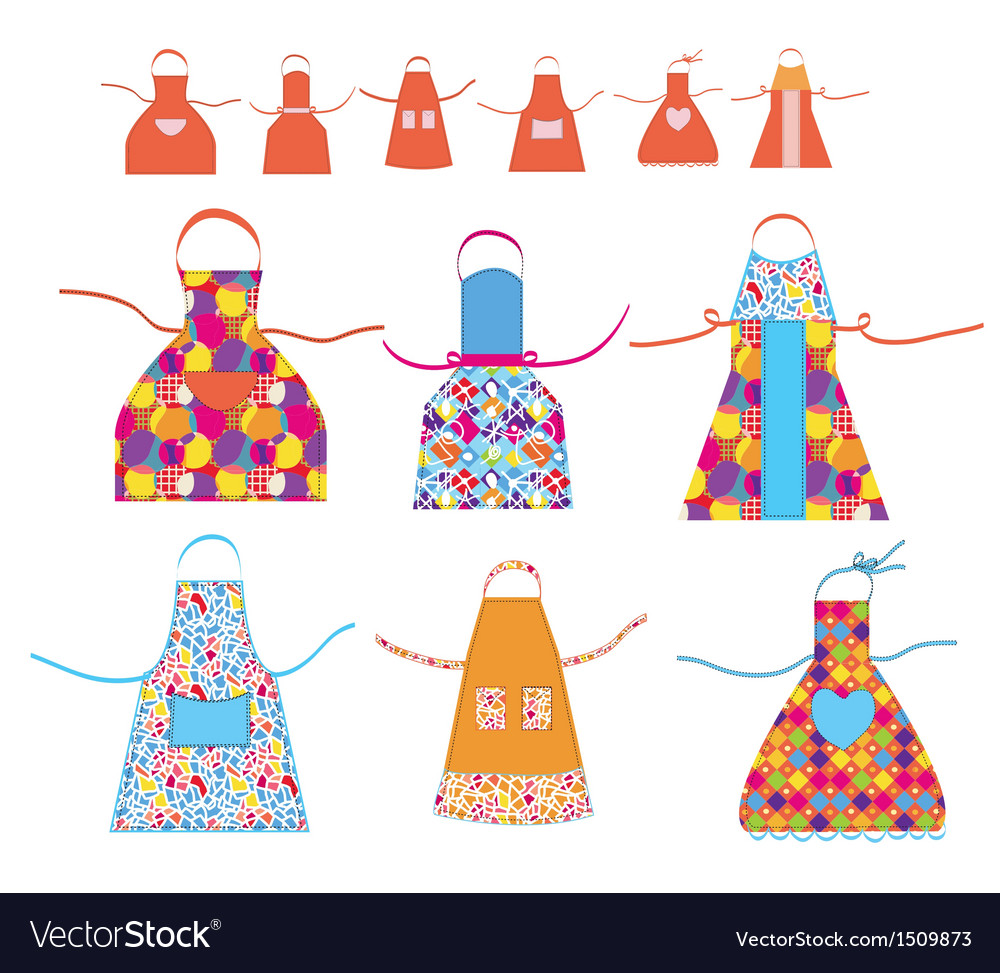 Aprons cooking set with patterns vector | Price: 1 Credit (USD $1)