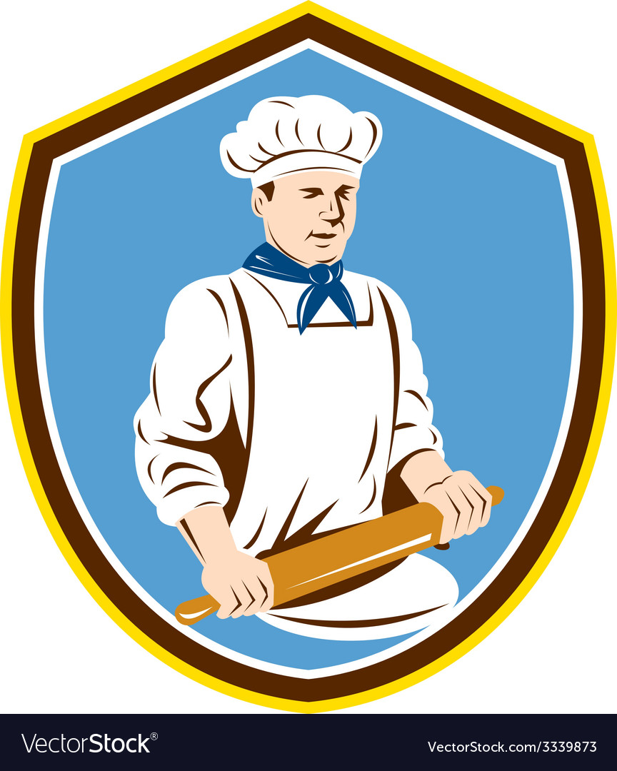 Baker chef cook rolling pin shield retro vector | Price: 1 Credit (USD $1)