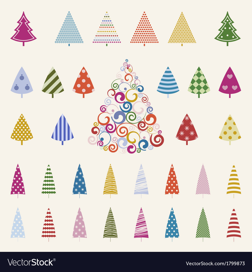 Decoration pine trees celebration set vector | Price: 1 Credit (USD $1)