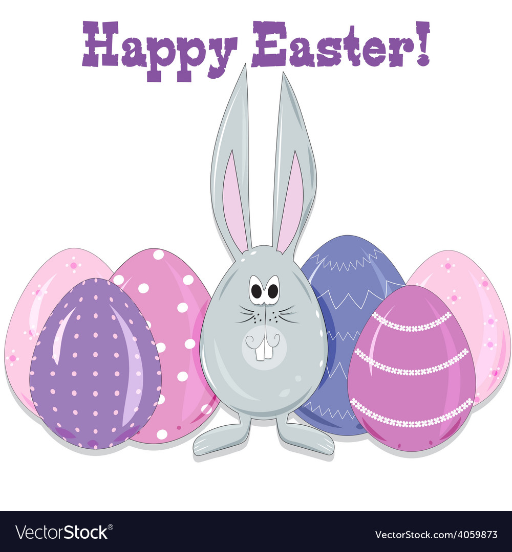 Easter bunny and eggs in a cartoon style vector | Price: 1 Credit (USD $1)