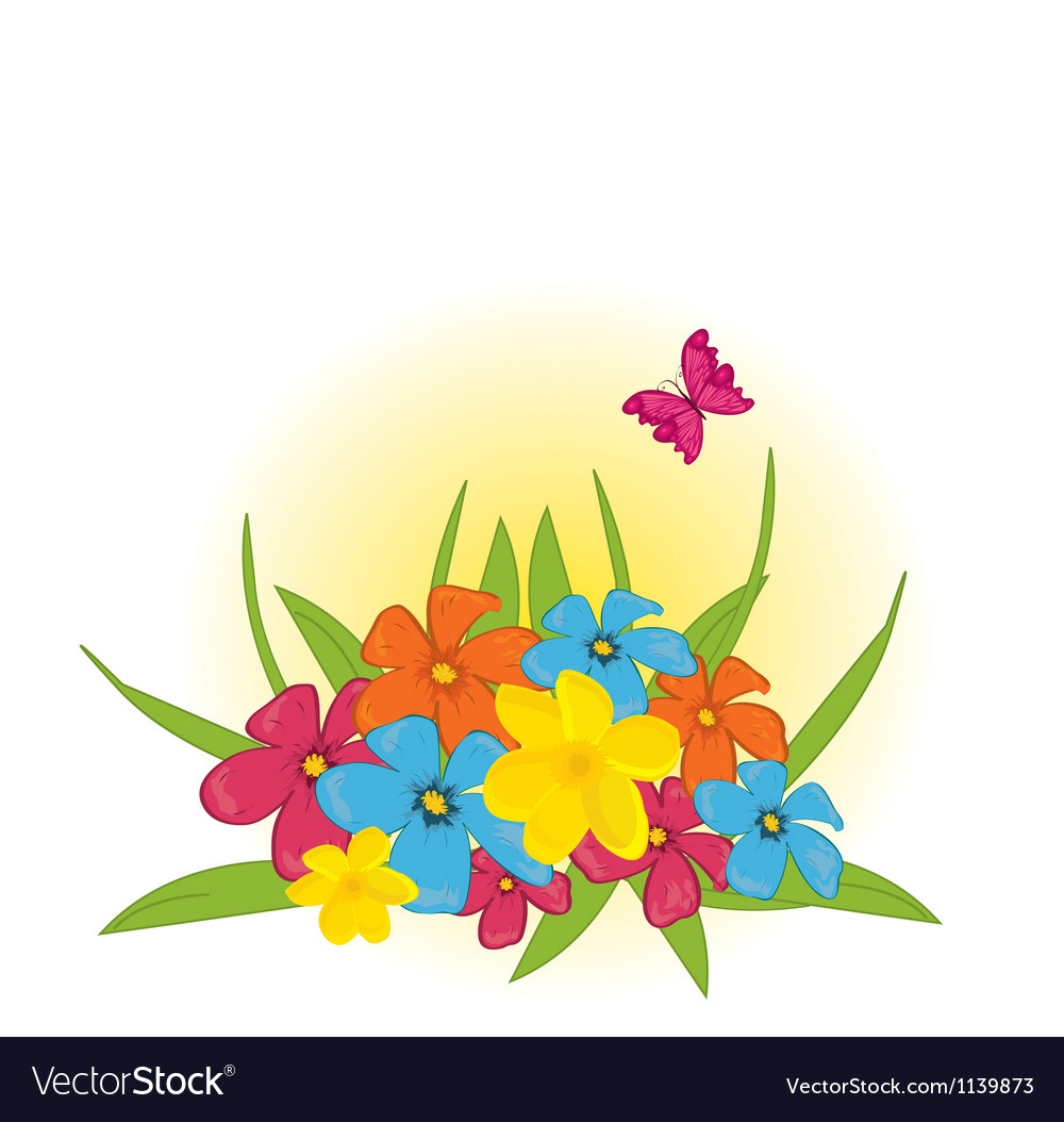 Flower bed with butterfly vector | Price: 1 Credit (USD $1)